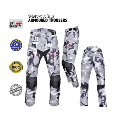 Motorbike Motorcycle  CAMO Trousers Cordura CE approved Armour