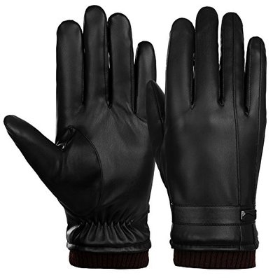 VBIGER Mens Gloves PU Leather Touch Screen Outdoor Winter Gloves Driving Gloves