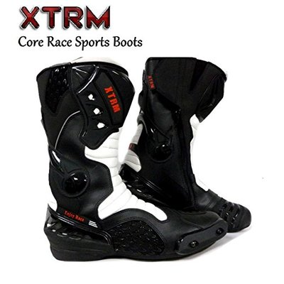 XTRM MOTORBIKE CORE ADULT BOOTS Motorcycle New Racing Touring Sports Armour Boots Black White – UK 7 / EU 41