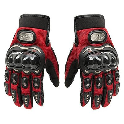 SunFlower Pro-Biker Bicycle Short Sports Leather Motorcycle Powersports Racing Gloves (Red, Large)