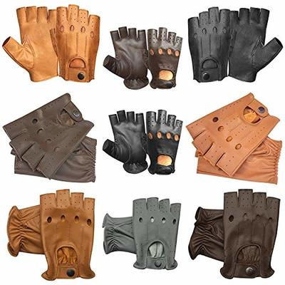 Prime Leather FINGERLESS MOTORBIKE CYCLING DRIVING GLOVES HALF FINGER 309-313-314-501 MULTI COLOUR (501-BLACK, L)