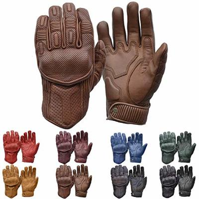 Goldtop Silk & Unlined Predator CE Approved Leather Motorcycle Gloves – Brown (XXL – 9.25″)