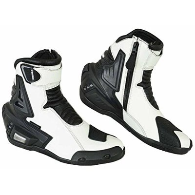 PROFIRST Pure Leather Motorbike Boots Motorcycle Armoured Short Ankle Shoes Crash Protection Protective Comfortable Racing | White & Black, UK 12 / EU 46