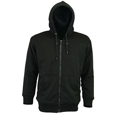 Motorcycle Armoured Hoody Casual Fully Kevlar Lined Fleece Hoodie Protection (Small/36) Black