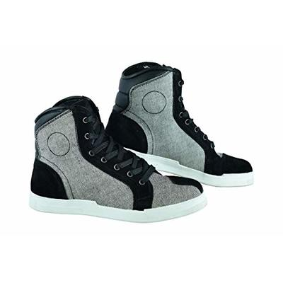 Jet Motorcycle Motorbike Shoes Boots Casual Short Ankle Denim Cow Suede Waterproof Armoured (Light Grey, 10 UK (EU 43))
