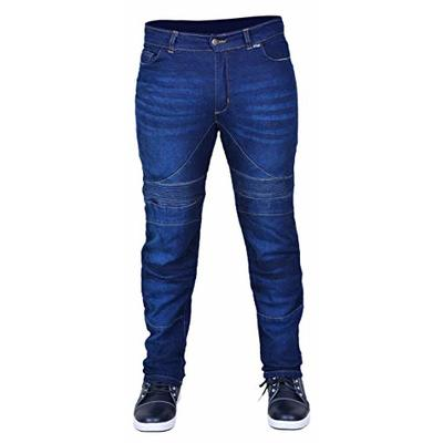 RAC3 Original Mens Slim Fit Black & Blue Motorbike Protective Denim Jeans Armoured Lining Trousers (Blue, W 32 x L 30)