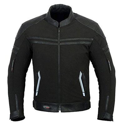 DRY RIDER SOFTSHELL WATERPROOF MENS MOTORBIKE MOTORCYCLE TEXTILE LEATHER JACKET (L)