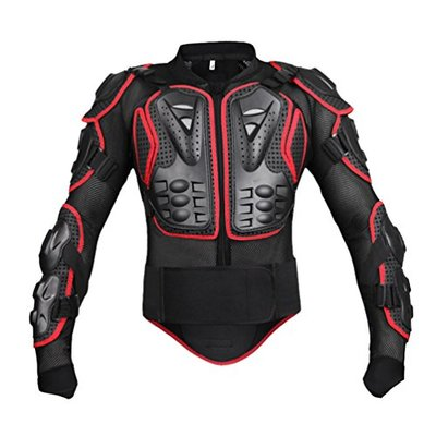 Dexinx Motorbike Cycling Riding Full Body Armor Armour Protector Professional Street Motocross Guard Shirt Jacket with Back Protection Black Red L