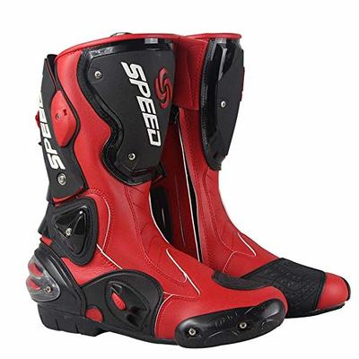 MRDEAR Motocross Boots MX Off Road Enduro Quad Racing Touring Motorbike Sports Boots Men & Women Waterproof Leather Reinforced Ankle Adult Motorcycle Boots with Hard Shell Protectors (9 UK,red)