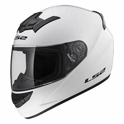 LS2 FF352 ROOKIE MOTOR CYCLCE BIKE FULL FACE CITY GOLD ACU HELMET WHITE QUICK RELEASE VISOR AND BALACLAVA (XL (61 to 62 CM))