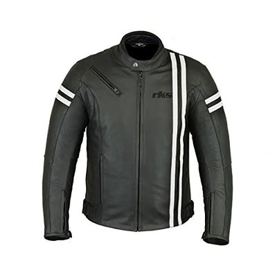 RKsports Jacket Leather Black Slim New Mens Fit Genuine Biker Men Motorcycle Real Vintage Casual (Small)
