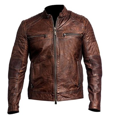 Fashion_First Mens Vintage Biker Motorcycle Distressed Brown Cafe Racer Genuine Leather Jacket (Small, Brown)