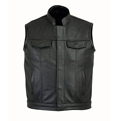 freedays Motorcycle Motorbike Mens Cut Off Vest Genuine Leather Bikers Waistcoat Jacket (3xl)