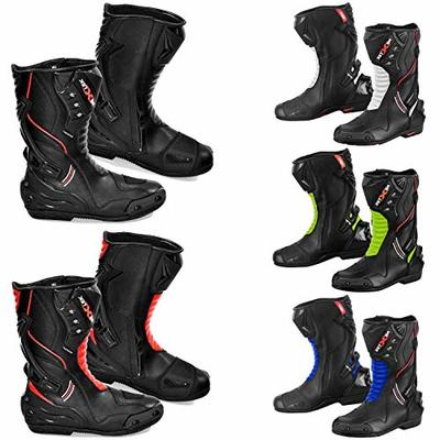 Motorbike Boots Mens – Motorcycle Armoured Leather Boot Touring Racing Sports Shoes for All Weather with Anti Skid Rubber Sole | White & Black, UK 10 / EU 44