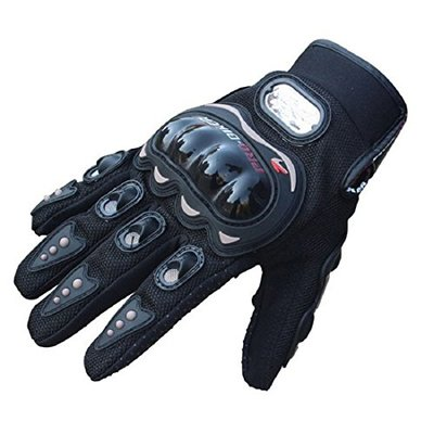 SunFlower Pro-Biker Bicycle Short Sports Leather Motorcycle Powersports Racing Gloves (Black, Large)