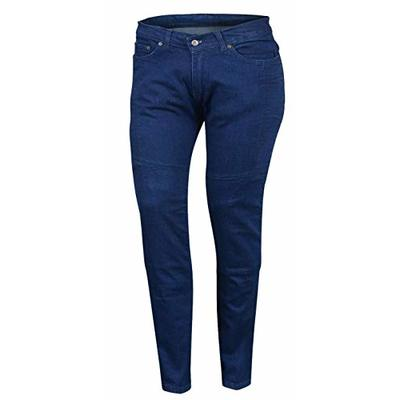 Bikers Gear Australia New Ladies Stretch Kevlar Lined Protective Motorcycle Jeans with Removable CE 1621-1 Armour, Blue, Size 16
