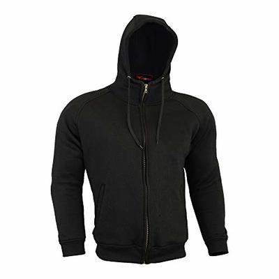 Armoured Hoodie Motorcycle Motorbike Summer Hoody Jacket Zip Up Removable Armor Bikers – Black – Size = 5X Large