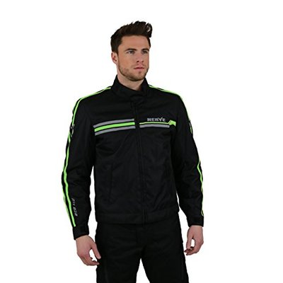 NERVE 15101304107_02 Swift Motorcycle Jacket, Black/Green, Small