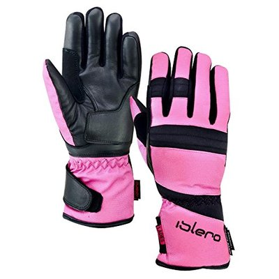 ISLERO Ladies All Weather Motorbike Waterproof Gloves Leather Windproof Tempest (Pink, XL)