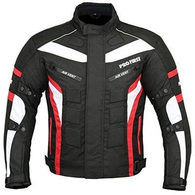 Waterproof Motorbike Gears Motorcycle Jacket in Cordura Fabric CE Approved Armour – Packs Design (Black & Red, 3X-Large)