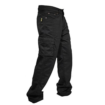 newfacelook Mens Motorcycle Trousers Jeans Cargo Pants with Aramid Protection Lining Black