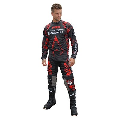 Wulfsport Adult Max Equipe V-20 Red Motorbike Suit Motorcycle Motorcross Racing Shirts Pants Set – Shirt XL + Pants 34""