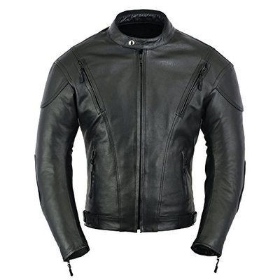 GearX Mens Impact Leather Motorcycle Motorbike Protection Jacket, Black, L