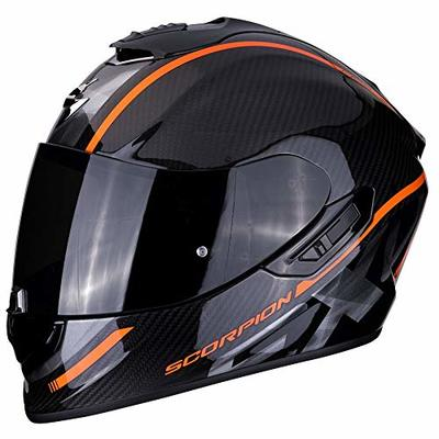 Scorpion EXO-1400 Grand Black Orange Carbon Fiber Full Face Helmet Motorcycle Scooter with SpeedView Retractable Sun Visor TCT External Shell Protection XL