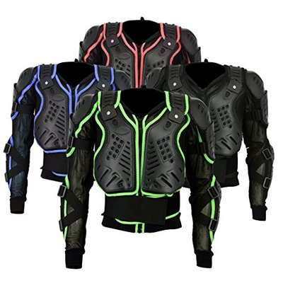 BA-002 | Motocross Motorbike Motorcyle Protection Jacket Body Armour Mountain Cycling Riding Skating Snowboarding Track Crash Guard CE Approved (Red, XX-Large Chest 44)