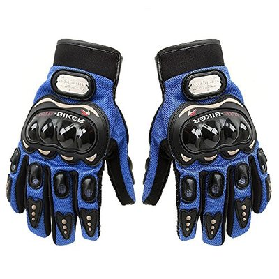 SunFlower Pro-Biker Bicycle Short Sports Leather Motorcycle Powersports Racing Gloves (Blue, Large)