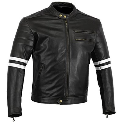 Bikers Gear UK LJ018WH-3XL The Rocker Motorcycle Leather Cafe Racer Jacket CE1621-1 PU Armour, Black/White, UK 46 EU 54 3XL