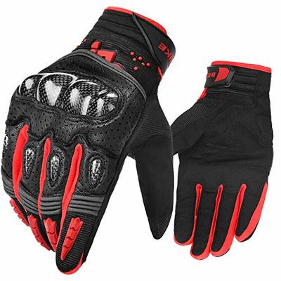 INBIKE Motorbike Gloves Leather Motorcycle Riding Biker Protective Hard Knuckle Protection Glove Full Finger Touch Screen Cycling Black Red Mens XL