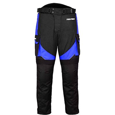 PROFIRST TR-001 | CE Approved Armoured Motorbike Motorcycle Trouser Pant Waterproof – Removable Lining – Big Pocket Design – Long Length Inside Leg 32 inch (Black & Blue, 5X-Large 44 Waist)