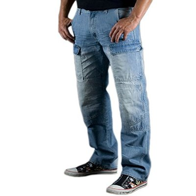 Juicy Trendz Men's Motorcycle Biker Jeans Reinforced Protection Lining Trouser with Armours S015 Blue W36 L34