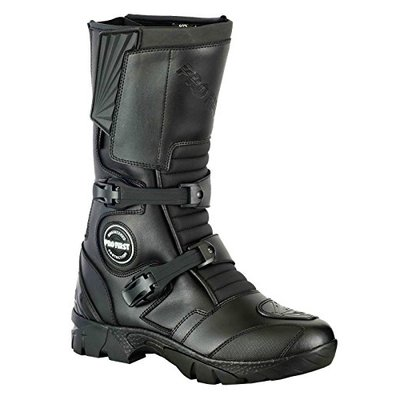 PROFIRST 100% Genuine Leather Waterproof Motorbike Boots Off Road Adventure Touring Motorcycle Shoes High Long Ankle Casual Racing Sports Touring Cruise | Full Black, UK 7 / EU 41