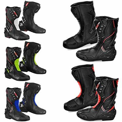 PROFIRST 10017B – Mens Waterproof Motorbike Motorcycle Armoured Leather Boot Touring Racing Sports Shoes for All Weather with Anti Skid Rubber Sole | Full Black, UK 10 / EU 44