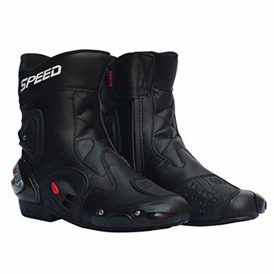 LKN Ankle Joint Protective Gear Motorcycle Boots Shoes for Riding Racing, Black, 42 EU