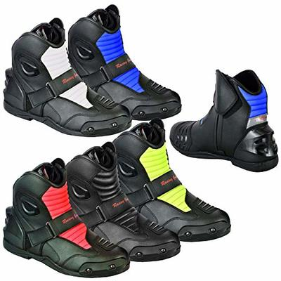 Motorbike Boots Motorcycle Shoes Biker Racing Stylist Short Ankle Boot Motorcycle Track Touring Shoes Waterproof Armoured for Mens Boys Rider – Size UK 9