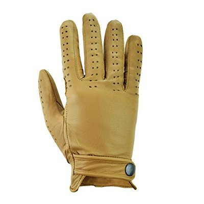 Rawhide Leather Padded Palm Vented Driving Gloves, MENS REAL LEATHER TOP QUALITY PADDED PALM VENTED DRIVING GLOVES (Large, Tan)