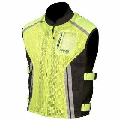 Armr Moto Reflective Motorcycle Over Vest Fluo Yellow/Black XL (44)