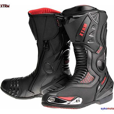 XTRM XT Motorcycle Boots Black Reinforced Cruising Touring Water Resistant Bike Riders Safety Footwear (Black,47/13)