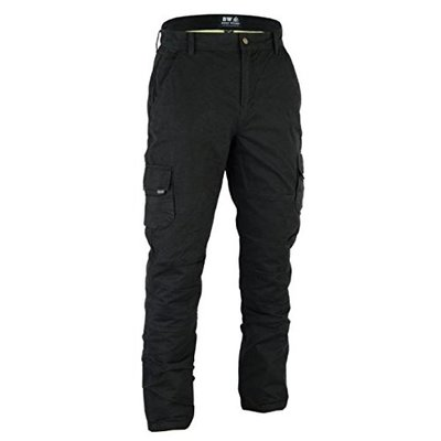 Men's Motorbike Motorcycle Protective Armaid Padded Reinforced Protective Lining Black Cargo jean Trouser Pant With Free Padding (Black Cargo, W44″ – L30″)