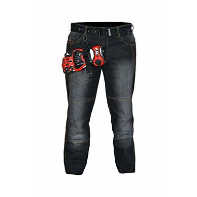 RAC3 Original Mens Motorbike Protective Black & Blue Denim Armoured Lining Jeans Trousers (Black, Waist 42″ X L 32)