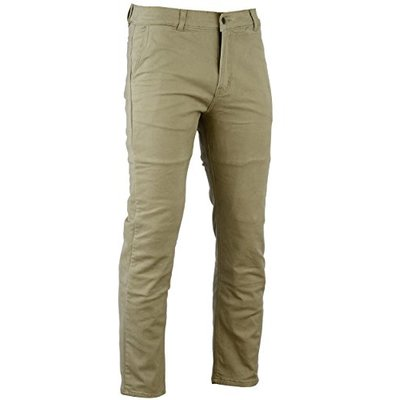Bikers Gear Australia New Modern Chino Style Kevlar Lined Protective Motorcycle Jeans with CE 1621-1 Protection, Tan, Size 40S