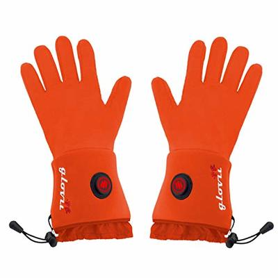 Glovii Battery Heated Universal Touchscreen Glove Liners, Thermoactive Gloves, Set Includes Two Batteries And Charger (Orange, L-XL)