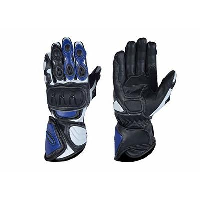 MBSmoto MBG25 Sports Rider Motorcycle Motorbike Touring Protective Leather Long Gloves (Blue, XXXL)