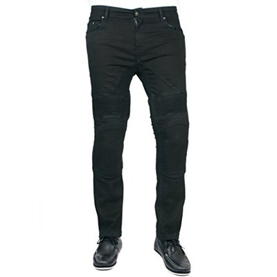Men's Motorbike Motorcycle Skinny Slim FIT Denim Jeans with Protective Lining – Jet Black W34 L32