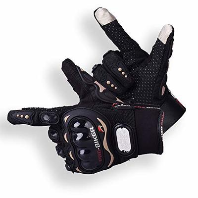 Motorcycle Gloves Winter Warm Touch Screen Leather Motorbike Gloves Waterproof Windproof Gloves for Motorcycle Cycling Hiking Camping Outdoor Sports,Black (M)