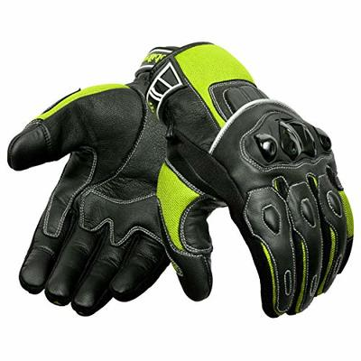 Oro Biker Motorbike Motorcycle Gloves, Premium Leather and Summer Mesh Hard Knuckle Touch Screen Motorbike Gloves Racing ATV Riding Gloves for Men (Large, Black/Fluorescent Green)