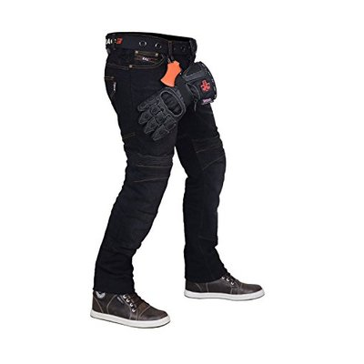 "RAC3 Original Mens Slim Fit Black Motorbike Protective Armoured Lining Blue Denim Jeans Trousers (W30""XL32"")"